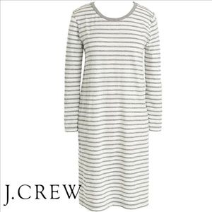 J CREW Gray & White Stripe 3/4 Sleeve Tshirt Dress